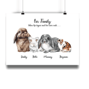 Bunny Rabbit Personalized Family Print Portrait - Personalise Gift Shop UK