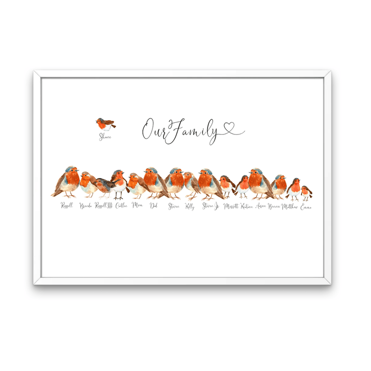Robin Bird Personalized Family Portrait - White Frame Included - Personalise Gift Shop UK