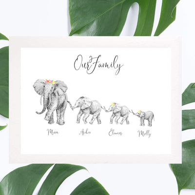 Custom African Elephant Family Print - 8x10 inch. - No Frame - Personalise Gift Shop UK