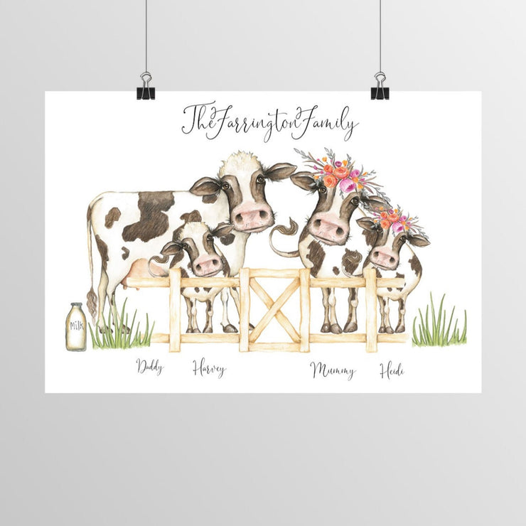 Cow Family Personalised Portrait Print - No Frame Cow Family Print - 8x10 A4