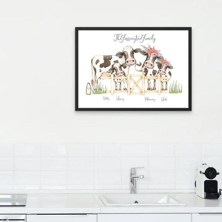Cow Family Personalised Portrait Print - No Frame Cow Family Print - 8x10