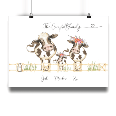 Cow Family Personalised Portrait Print - No Frame - Personalise Gift Shop UK