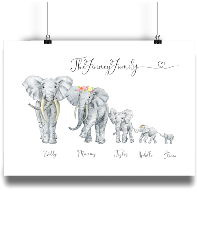 Personalised Family Elephant Portrait Print- Flowers in hair. - Personalise Gift Shop UK