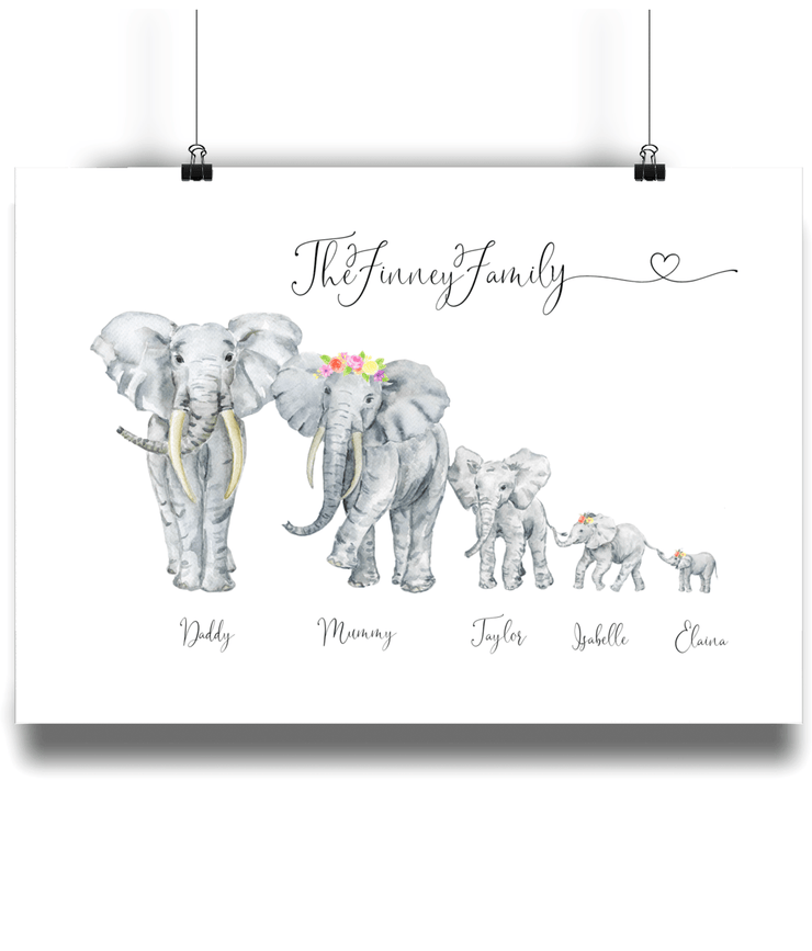 Personalised Family Elephant Portrait Print- Flowers in hair. NO Frame Elephant Print With Flowers In Hair A4 8x10 SKU-PERS-1