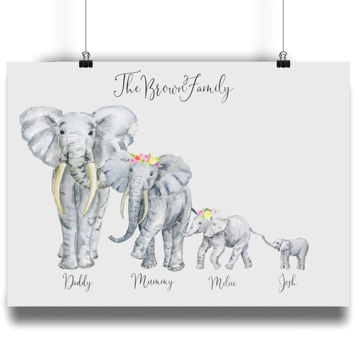 Personalised Family Elephant Portrait Print- Flowers in hair. NO Frame Elephant Print With Flowers In Hair A4 A2,