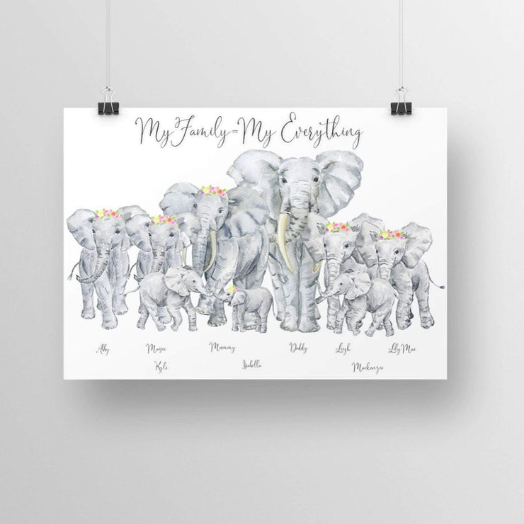 Personalised Family Elephant Portrait Print- Flowers in hair. NO Frame Elephant Print With Flowers In Hair A4 A4 L-MATTE-AP