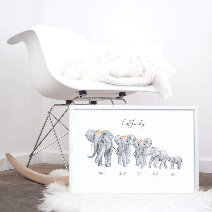 Personalised Family Elephant Portrait Print- Flowers in hair. NO Frame Elephant Print With Flowers In Hair A4