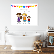 Stick Family Print, Personalised Family Portrait stick family personalised print A4 with White Frame STICK-WHI-1
