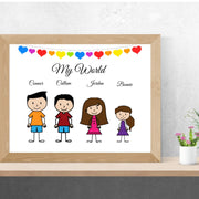 Stick Family Print, Personalised Family Portrait - Personalise Gift Shop UK
