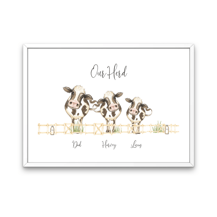 Herd Of Cow's Personalized Family Print - Personalise Gift Shop UK