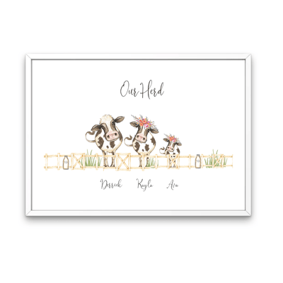 White framed - Herd Of Cow's Personalized Family Print White Framed Cow Family Portrait