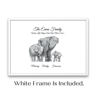 White Framed African Elephant Watercolour Personalised Family Print - Personalise Gift Shop UK