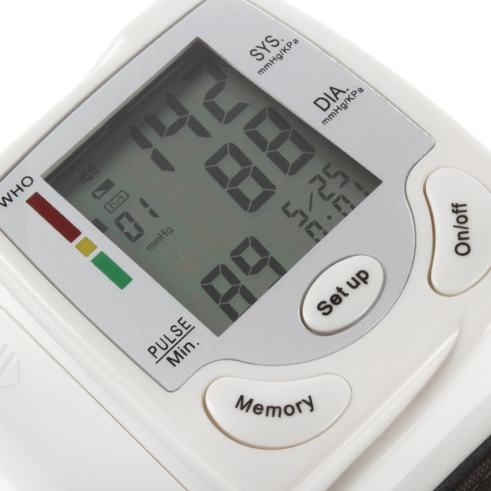 Automatic Digital LCD Display Heart Beat Rate Pulse Meter Measure Wrist Blood Pressure Monitor