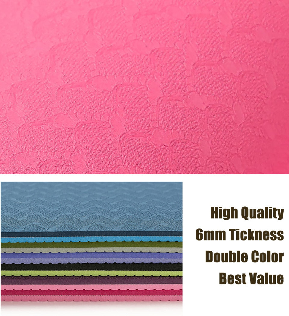 183*61cm 6mm Thick Double Color Non-slip TPE Yoga Mat for Gym/Home
