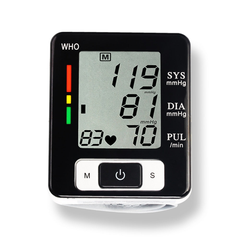 Automatic Digital Wrist Blood Pressure Monitor with LCD Display for Heat Beat Tonometer Pulse Rate Heart Monitor