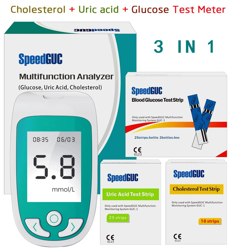 3 in1 Multi-Function Cholesterol Uric Acid & Blood Glucose Test Strips for Diabetes