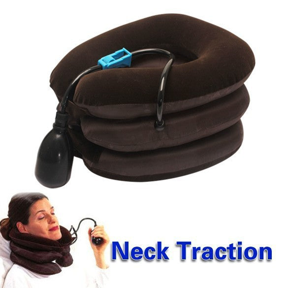 Inflatable Air Compressor Neck Cervical Traction Collar Therapy Massage Pillow
