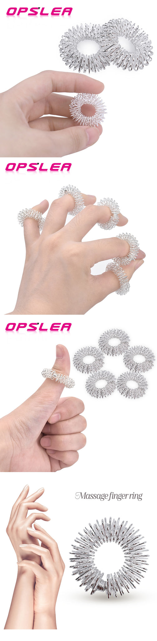 10pcs/Lot Health Care Relaxing Acupressure Massage Finger Ring