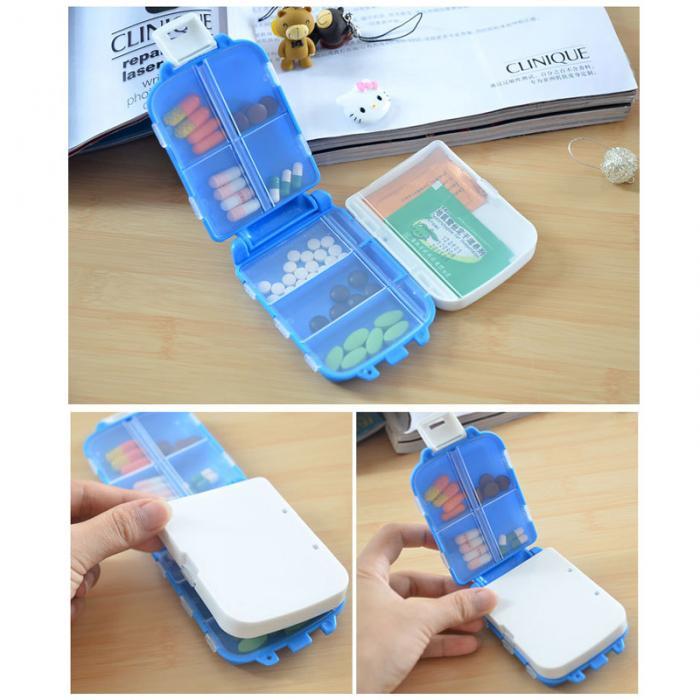 Portable Plastic Folding Pill Box Cases for Drugs Capsule Tablet