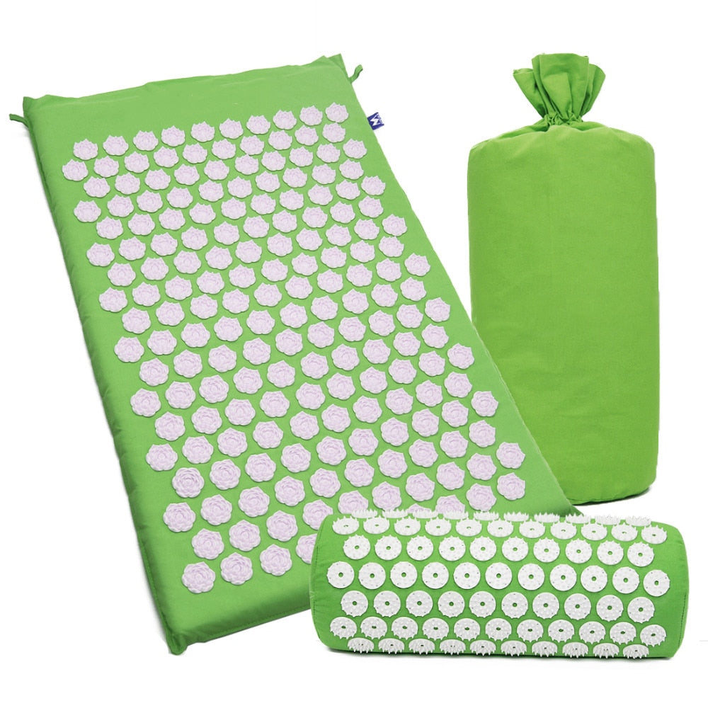 Acupressure Massage Yoga Mat and Pillow Set for Back Neck Stress Relieve