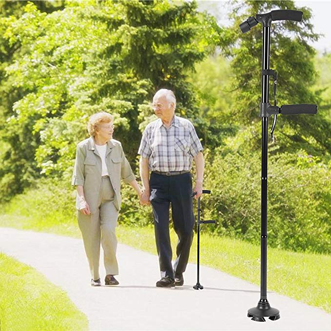 Folding Double Handle Walking Stick with Flashlight for Elderly