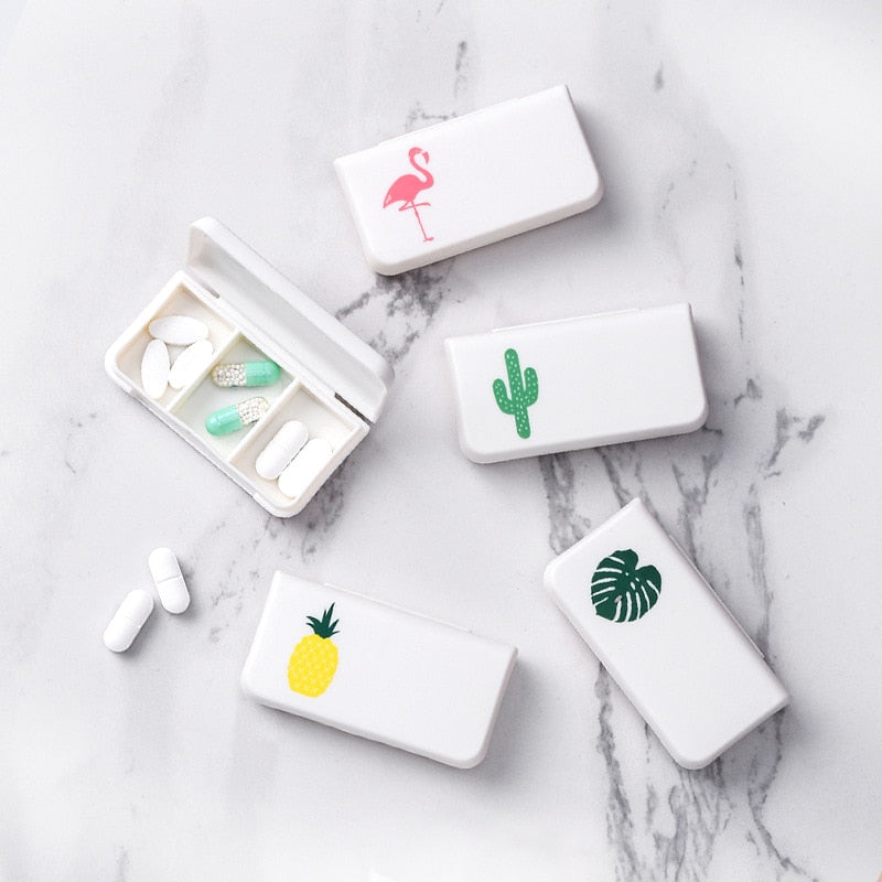 Portable & Cute Plastic Mini Pill Case Medicine Box for Travel