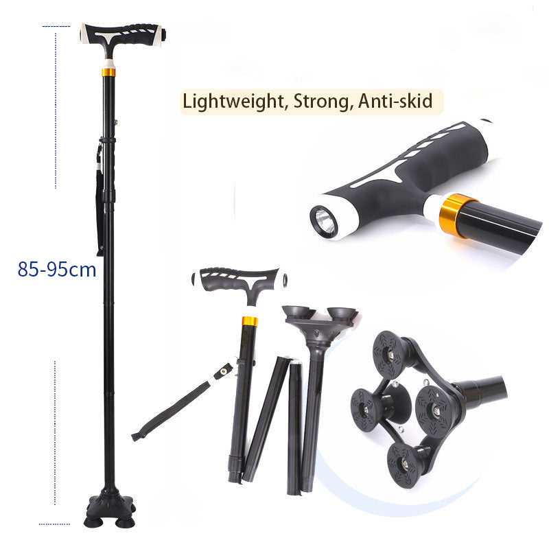 Telescopic Anti-skid Folding LED Safety Aluminum Alloy Walking Stick With Lamp