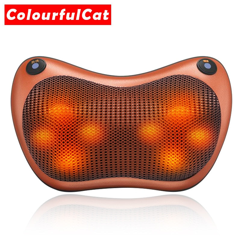 Electric Cervical Shiatsu Neck Waist & Body Massager Pillow for Car Home & Office