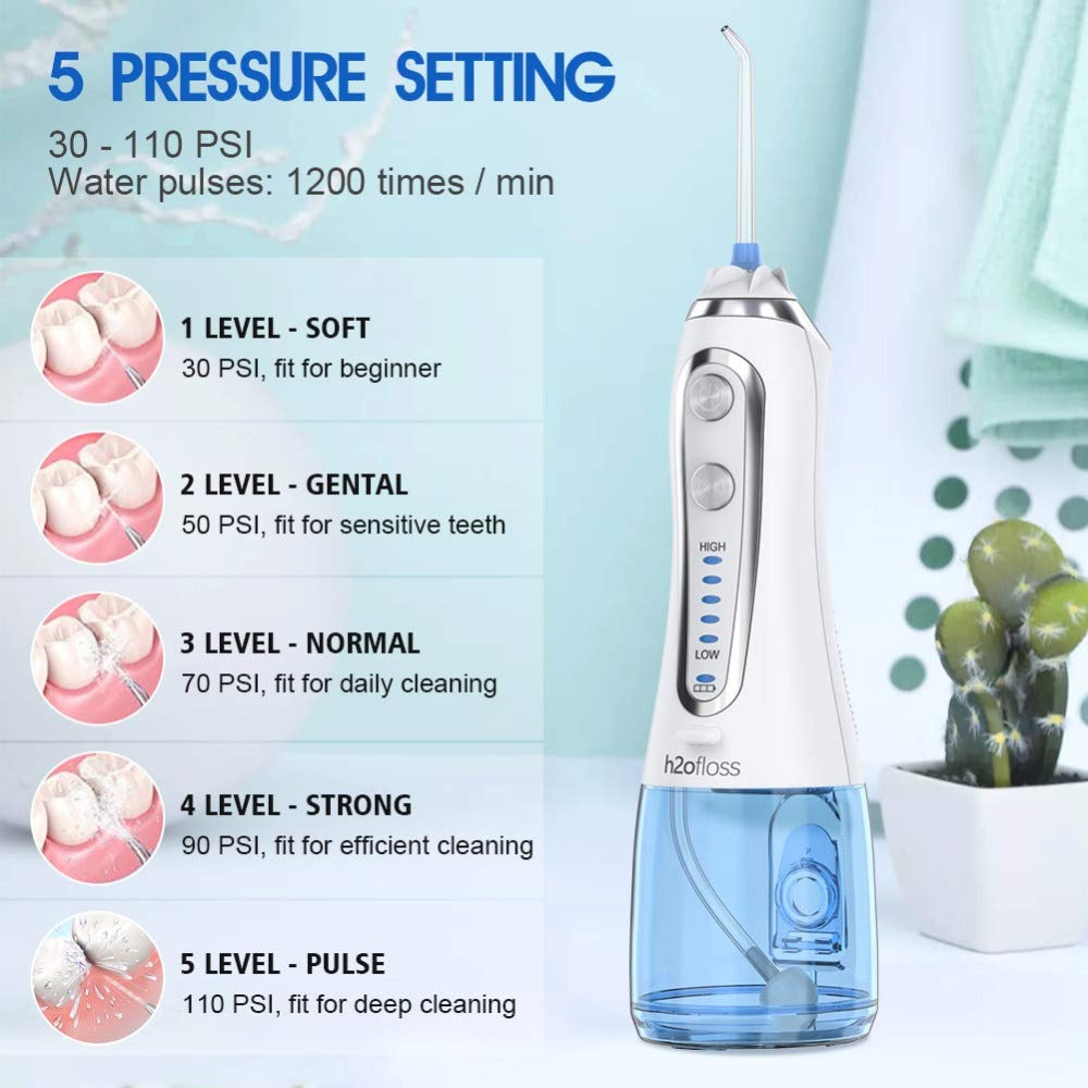 5 Modes USB Rechargeable Water Floss Portable Irrigator Dental Teeth Cleaner+5 Jet