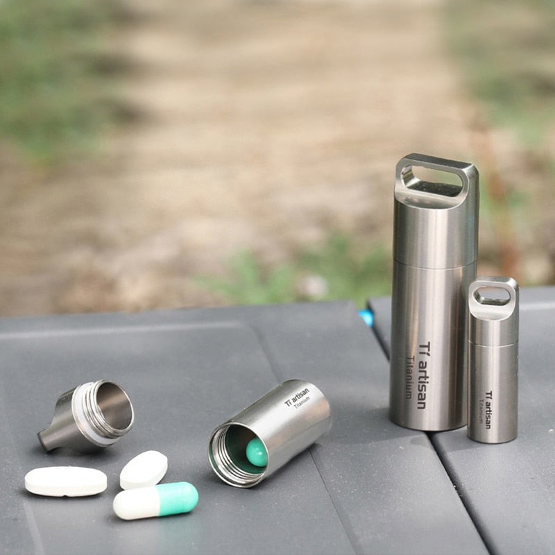 1pc Titanium Waterproof Pill Storage Metal Capsule Container Case for Travel