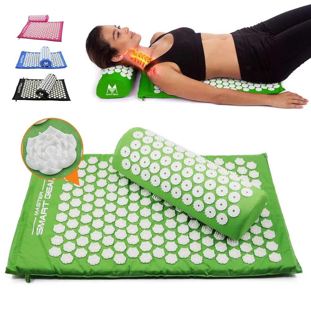 Designer Acupressure Mat Pillow Set with Carry Bag