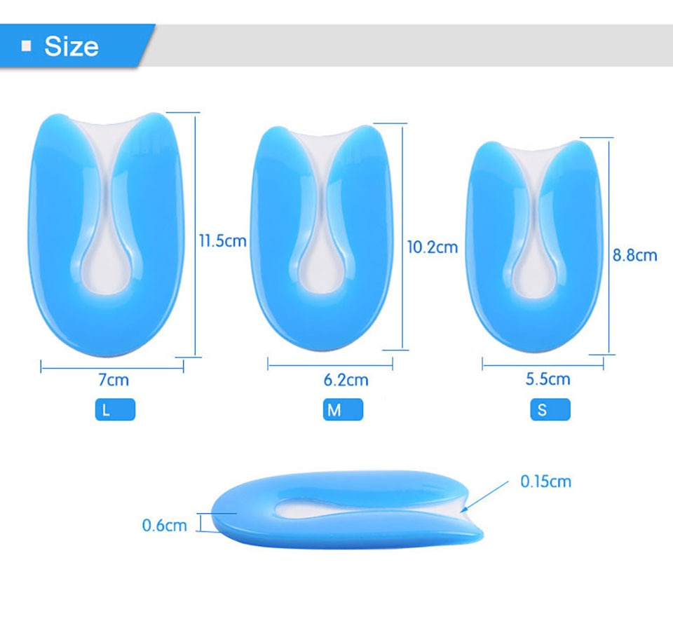 Silicone Gel Insoles Heel Cushion Soles for Foot Pain Relief