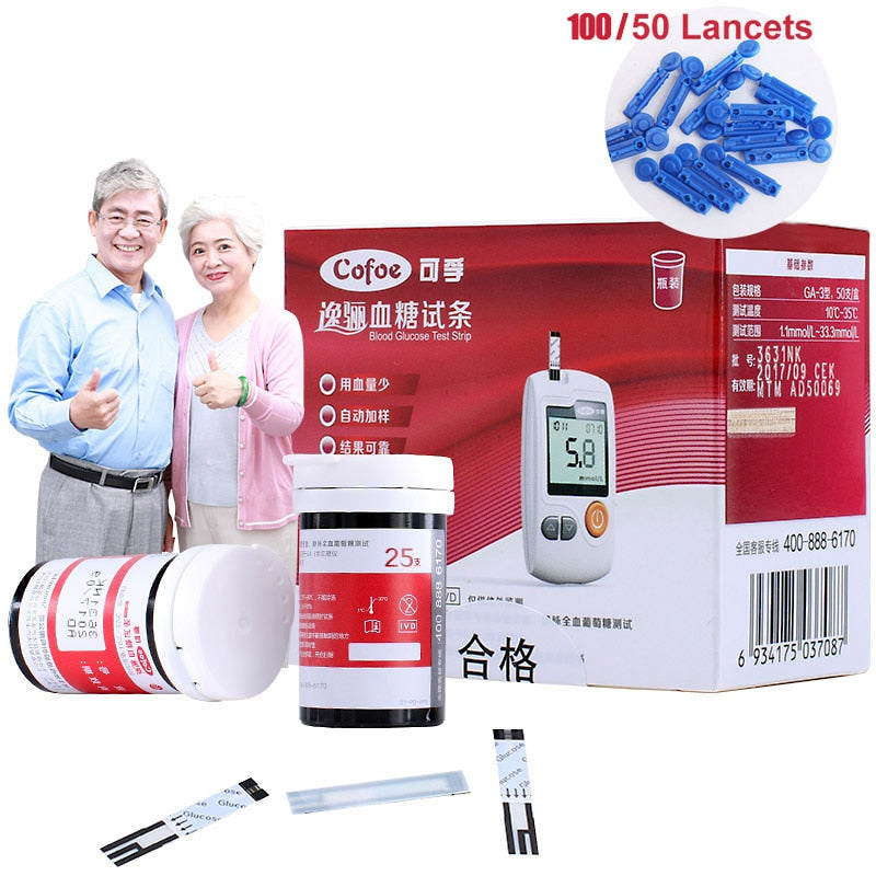 50/100 Blood Glucose Test Strips with Lancets and Needles for Diabetes Monitor