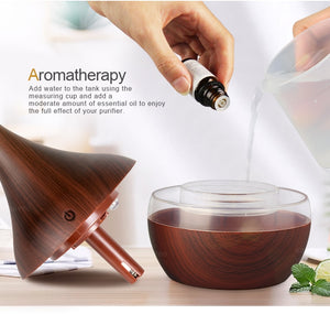 USB Wood Grain Ultrasonic Aromatherapy Diffuser Cool Mist Humidifier for Office Home
