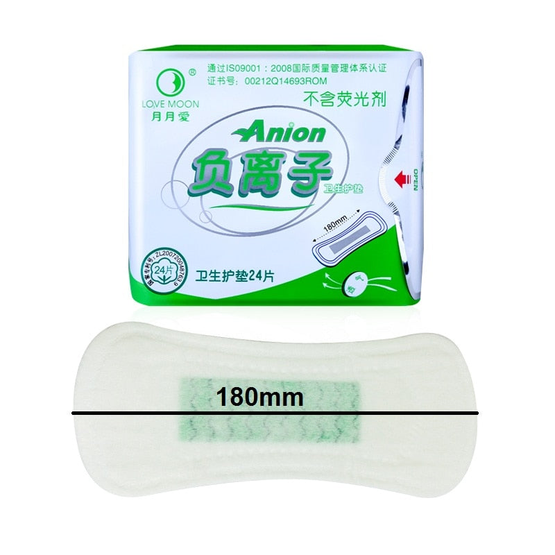 100% Cotton 10 Pack Love Moon Anion Sanitary Pads for Women