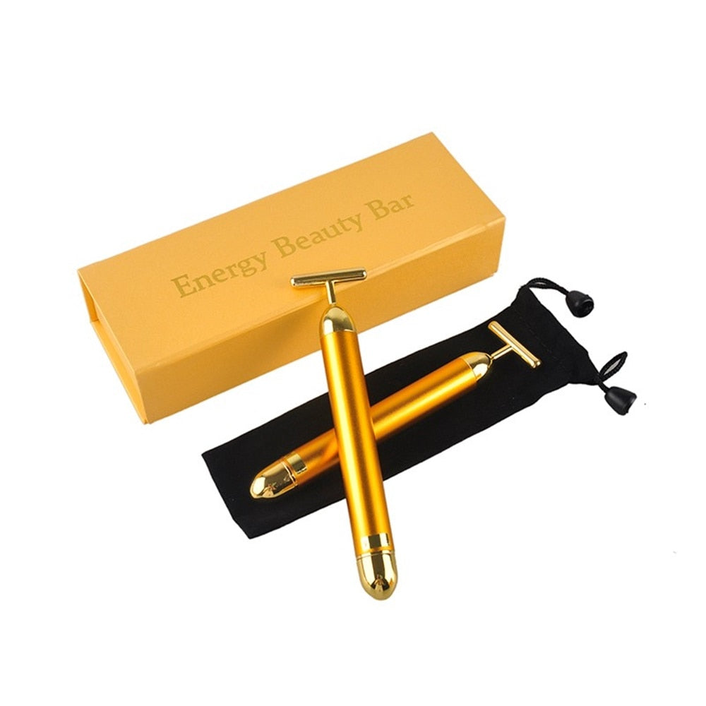 NEW 24K Gold Vibration Facial Beauty Roller Massager