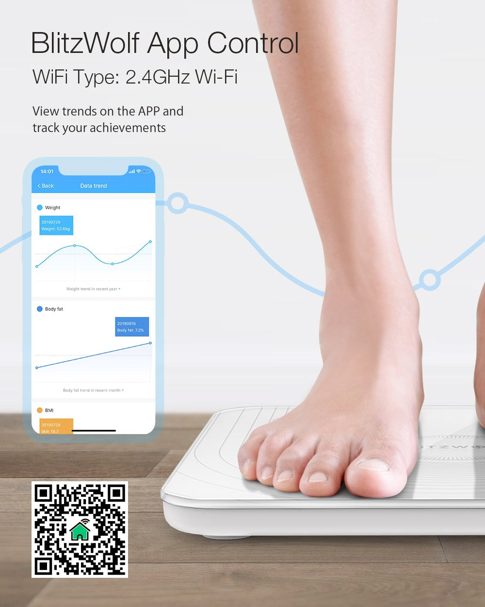 2.4GHz WiFi Smart APP Remote Control Digital Body Fat Measuring Weight Scale