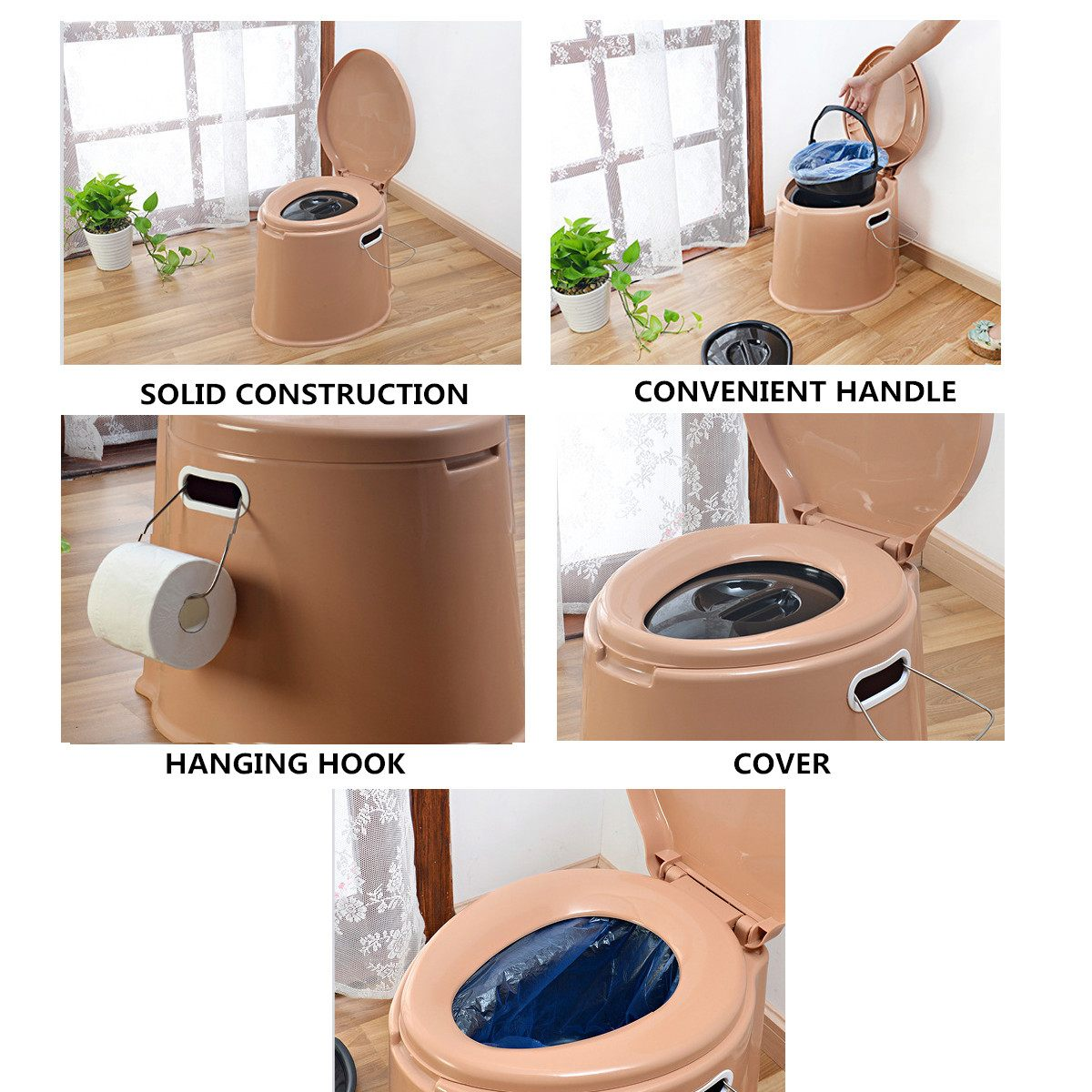 Portable Toilet Potty Commode Flush for the Elderly or Handicapped Outdoor Emergency