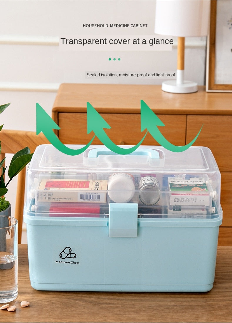 3 Layer Portable First Aid Kit Plastic Drug Multi-Functional Medicine Cabinet Emergency Kit Box for Family