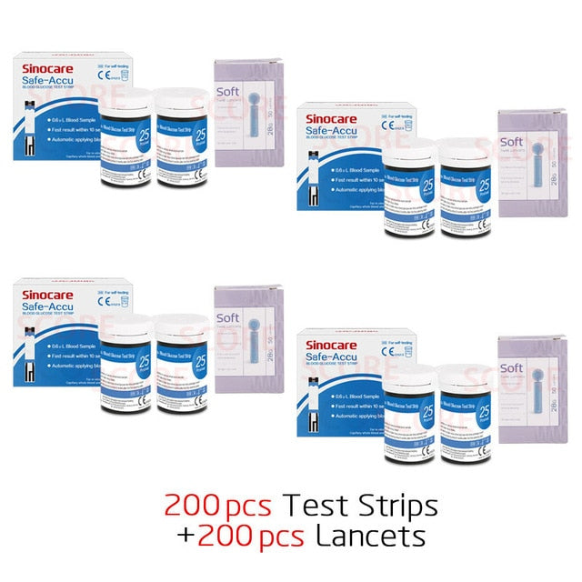 Suitable & Safe Accu 50/100/200pcs Blood Glucose Test Strips with Lancets