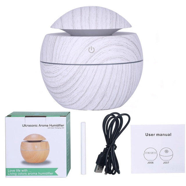 130ml Ultrasonic USB Wood Grain Essential Oil Diffuser Aromatherapy Mist Maker with LED