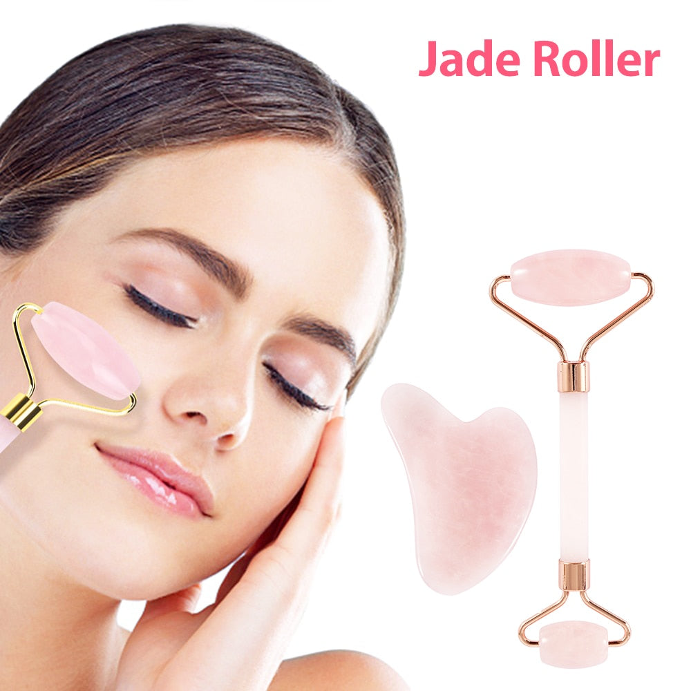 Rose Quartz Lifting Natural Jade Roller Slimming Face Massager