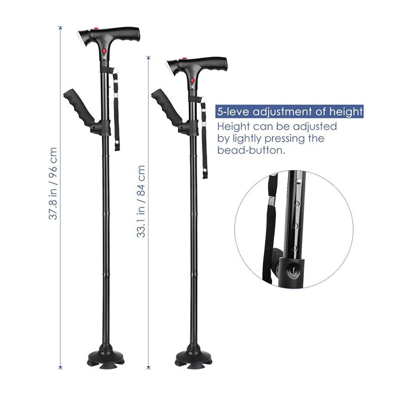 Collapsible Telescopic Cane Folding LED Lightweight Safety Walking Stick for The Elderly