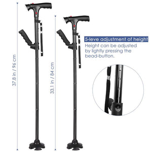 Telescopic Folding LED Walking Trusty Sticks Crutches for Elderly