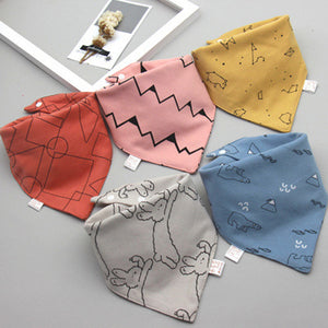 Triangle Double Cotton 5Pcs/Set Baby Bibs Feeding Towel