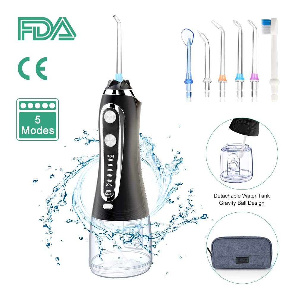 Portable 300ml 5 Modes USB Rechargeable Dental Water Flosser Jet Waterproof Irrigator Teeth Cleaner+5 Tips