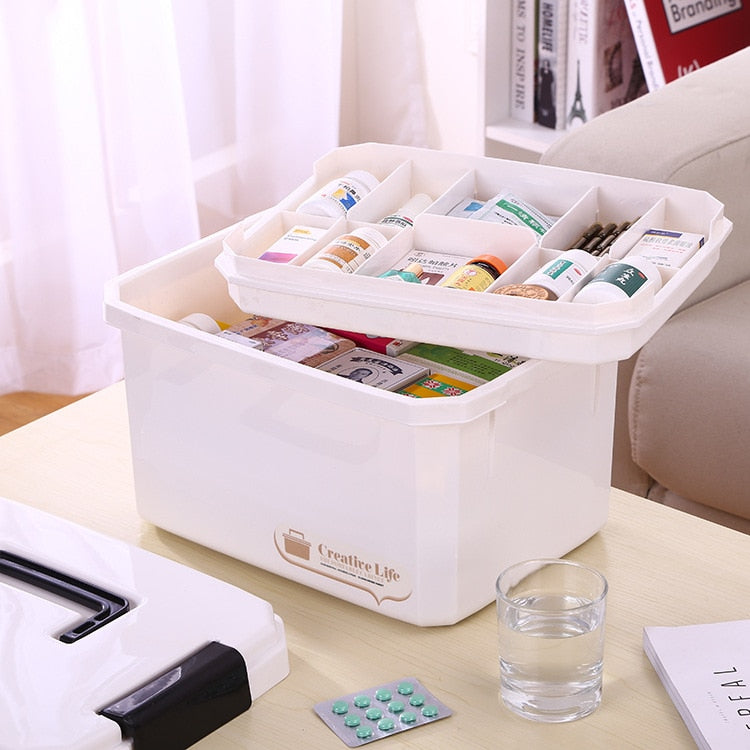 Portable Multifunctonal Storage Box First Aid Kit Organizer with Handle for Household