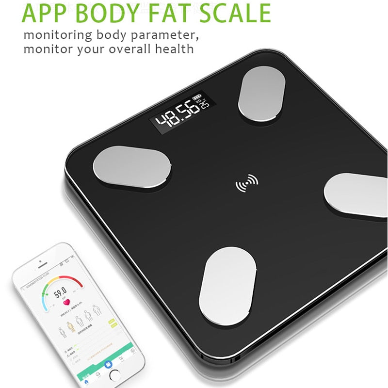 Electronic Digital Bluetooth Toughened Glass Body Fat Weighing Scales with LCD Display