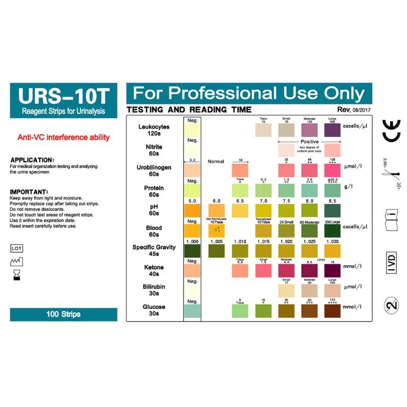 100Strips URS-10T Urinalysis Reagent Urine Test Strip