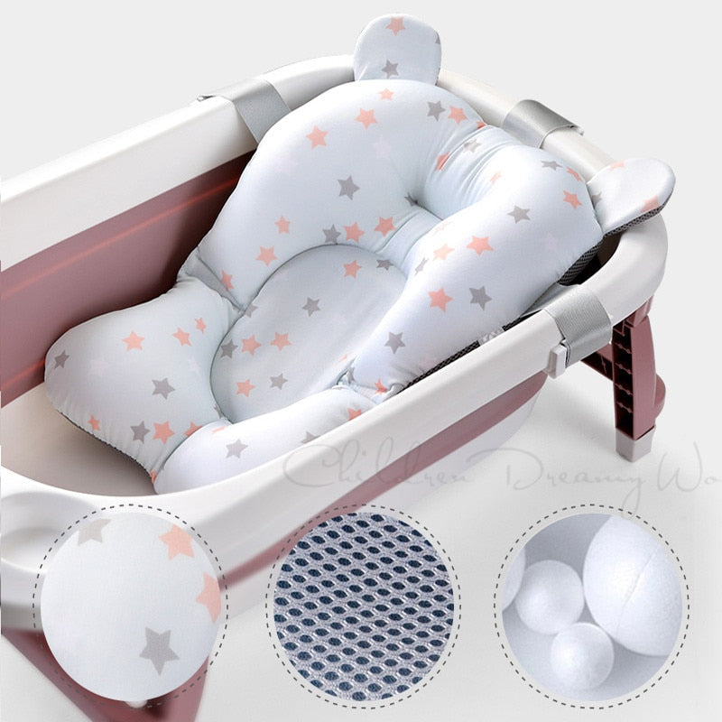 Foldable Anti-Slip Soft Comfort Baby Bath Seat Support Mat